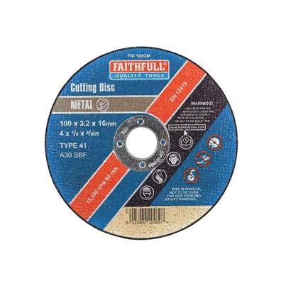 Faithfull Metal Cut Off Disc  100 x 3.2 x 16mm