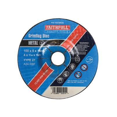 Faithfull Depressed Centre Metal Grinding Disc 100 x 5 x 16mm
