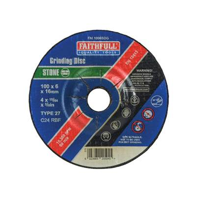 Faithfull Depressed Centre Stone Grinding Disc 100 x 6 x 16mm