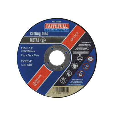 Faithfull Metal Cut Off Disc 115 x 3.2 x 22mm
