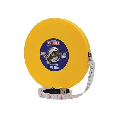 Faithfull Closed ABS Fibreglass Long Tape 50m/165ft (Width 13mm)