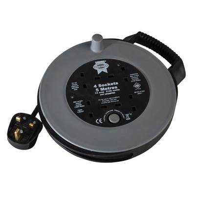 Faithfull Power Plus Slim Cable Reel 240 Volt 5 Metre 13 Amp 4 Socket Thermal Cut Out