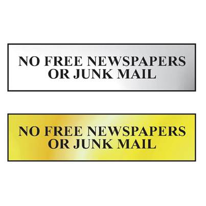 Scan No Free Newspapers Or Junk Mail Sign