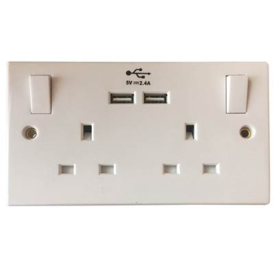 SMJ Switched Socket 2 Gang 13A with 2 x USB