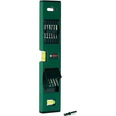 Bosch Spirit Level and Screwdriver Bits in Holder 17 piece