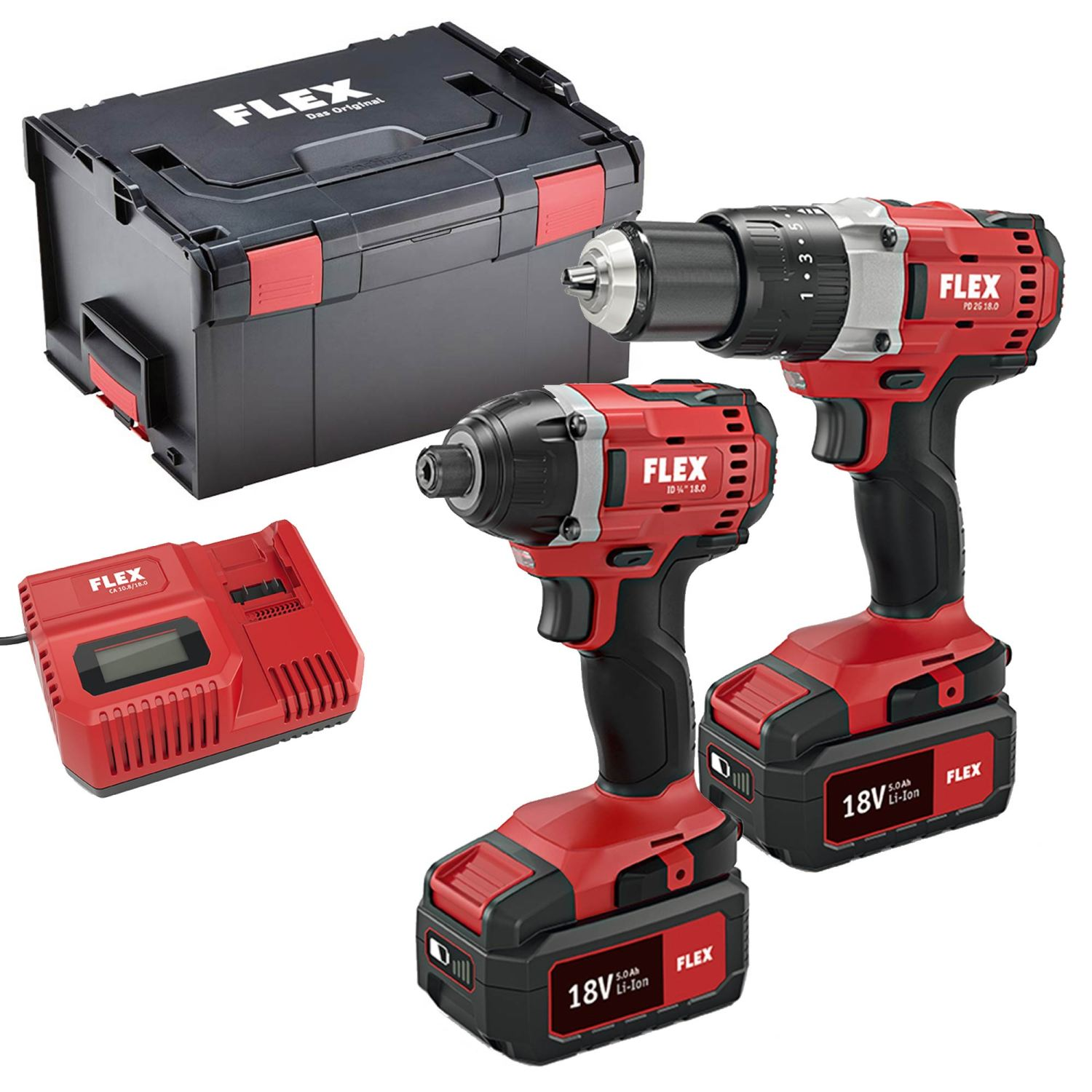 18v Twin Pack Drill and Impact Driver And Work Light