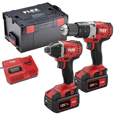FLEX 18v Twin Pack Drill and Impact Driver And Work Light