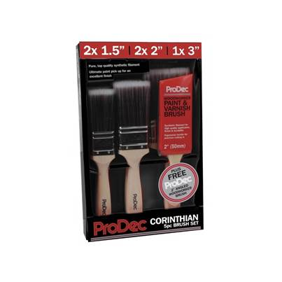 ProDec 6 Piece Corinthian Brush Set Paint Brushes Premium Trade Quality