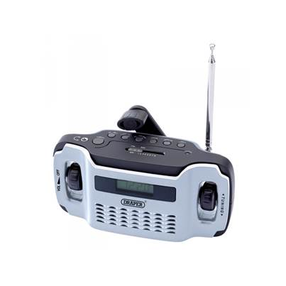 Draper 02379 Wind Up Radio With 3 LED Torch