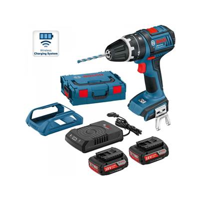 Bosch GSB18V-EC 18v Brushless Combi Drill wireless charge 2 x 2.0AH Batteries