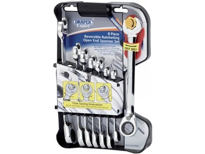 07033 Expert 8 Piece Hi-Torq Metric Reversible Ratcheting Open End/Combination Spanner Set