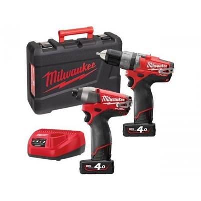 Milwaukee M12PP2A M12 Fuel Twin Pack 2 x 12v Red Lithium 4ah Batteries