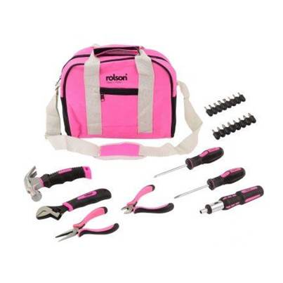 Rolson 25pc Pink Tool Bag Kit