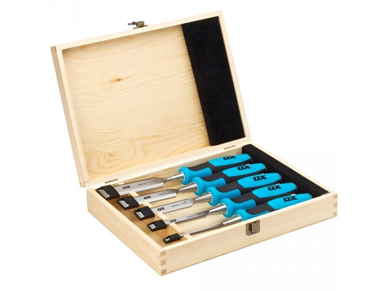 Pro Wood Chisel Set With Strike Cap (5 pce)