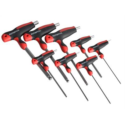 Faithfull Tools T Handle Ball Ended Hex Key Set of 8