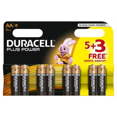 Duracell AA Batteries - Multi-Pack of 8 (5+3)
