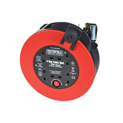 Faithfull Tools 10 Metre Fast Rewind Cable Reel 13 Amp 240 Volt