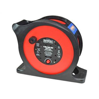 Faithfull Tools 25m Anti-Tangle Rapid Rewind Cable Reel 13 Amp