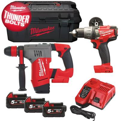 Milwaukee Thunderbolt Kit With FPD Combi Drill And CHPX SDS Drill 3 x 5.0Ah Batteries