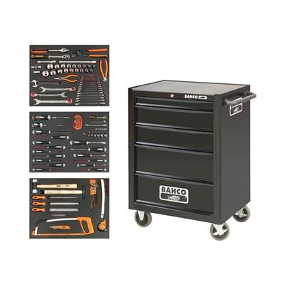 Bahco Black 5 Drawer Tool Trolley With Inlays & Tools