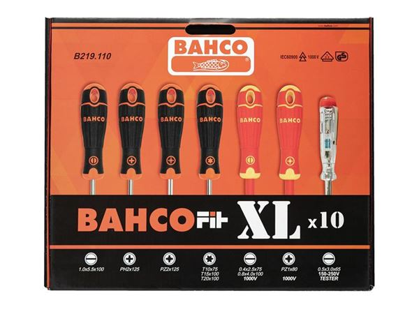 Bahco BahcoFit XL Screwdriver Set, 10 Piece SL/PH/PZ/TX