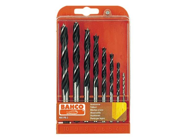 Bahco Lip & Spur Wood Drill Bit Set  8 Piece 3-10mm