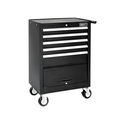 Expert Roller Cabinet 5 Drawer + Compartment - Black