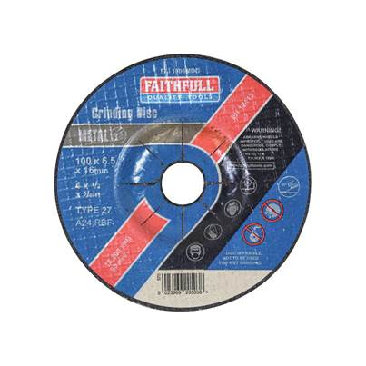 Faithfull Depressed Centre Metal Grinding Disc 100 x 6.5 x 16mm