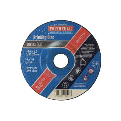 Faithfull Depressed Centre Metal Grinding Disc 125 x 6.5 x 22mm