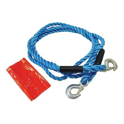 Faithfull Tow Rope 4m Metal Hooks 2 Tonne