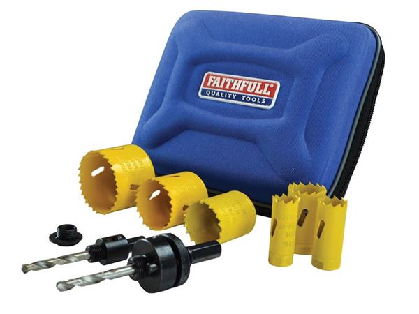 Faithfull Universal Varipitch Holesaw Electrician's Kit 9 Piece 16-51mm