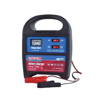 Faithfull Power Plus Battery Charger 9-112ah 8 Amp 240 Volt