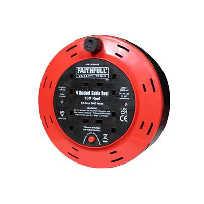 Faithfull Power Plus Cable Reel 240 Volt 10 Metre 10 Amp 4 Socket
