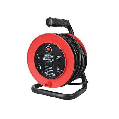 Faithfull Power Plus Open Drum Cable Reel 240 Volt 15 Metre 13 Amp 2 Socket