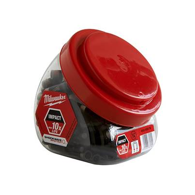 Milwaukee Power Tools Impact Rated Magnetic Bit Holder Jar 100 Pieces
