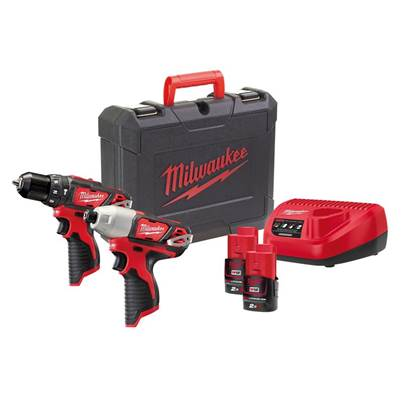 Milwaukee Power Tools M12 2BPP2B-202C Brushed Twin Pack 12V 2 x 2.0Ah Li-ion