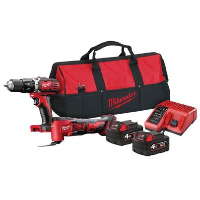 Milwaukee Power Tools M18 BPP2P-402B Combi Multi-Tool Twin Pack 18V 2 x 4.0Ah Li-ion