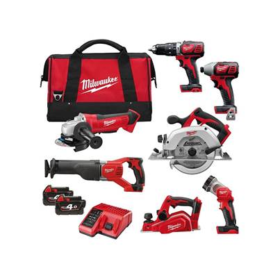 Milwaukee M18 BPP7A-402B Power Pack 7 Piece Kit 18 Volt 2 x 4.0Ah Li-Ion