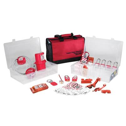 Master Lock Lockout / Tagout Electrical Group 23-Piece Kit with 410RED Padlocks