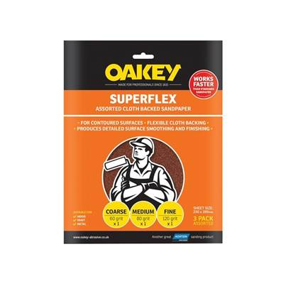 Oakey Superflex Cloth Backed Aluminium Oxide Sheets 230 x 280mm Assorted (3)