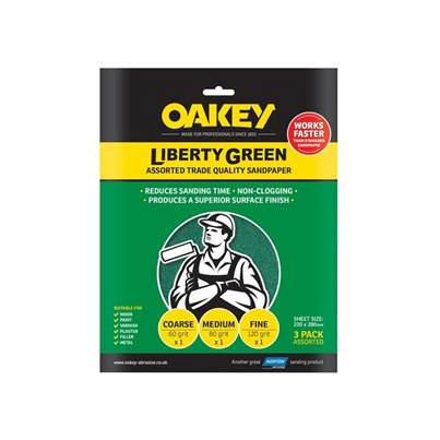 Oakey Liberty Green Aluminium Oxide Sheets 230 x 280mm Assorted (3)