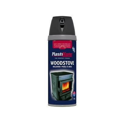Plasti-kote Twist & Spray Wood Stove Paint Black 400ml