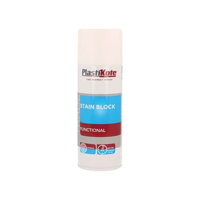 PlastiKote Trade Stain Block Spray Paint White 400ml