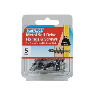 Plasplugs Metal Self Drive Fixings & Screws (Pack 5)
