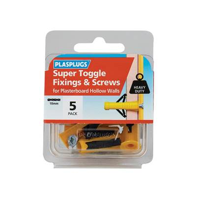 Plasplugs Super Toggle Fixings & Screws (Pack 5)