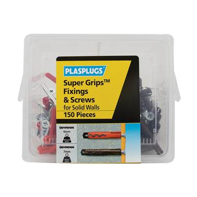 Plasplugs Super Grips™ Fixings & Screws Kit for Solid Walls, 150 Piece