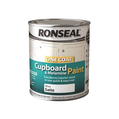 Ronseal One Coat Cupboard Melamine & MDF White 750ml