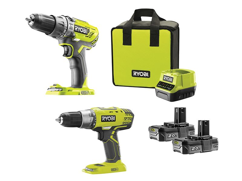 ONE+ Combi/Drill Driver Twin Pack 18V 2 x 2.0Ah Li-ion