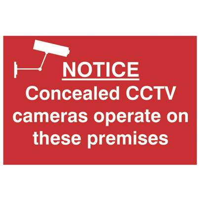 Scan Notice Concealed CCTV Cameras Operate On These Premises - PVC 300 x 200mm