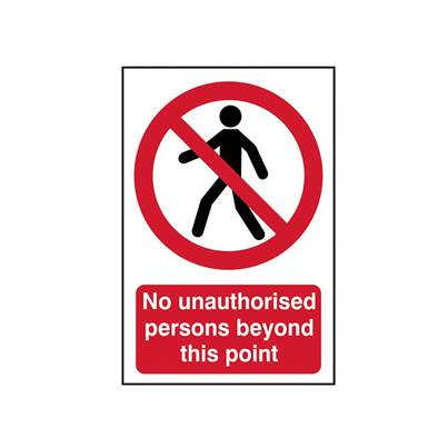 Scan No Unauthorised Persons Beyond This Point - PVC 400 x 600mm